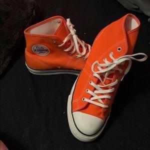 Orange 70's Style High Top Converse